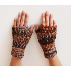 Sunshine Christine Brown Lavender Crochet Drop Wrist Warmers